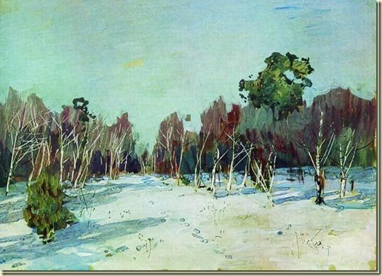 Картина Сад в снегу...