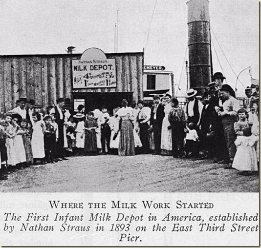На этом фото -Первая Станция Молока для Младенцев в Америке, открытая Натаном Штраусом в 1893 году от Рождества Христова...
