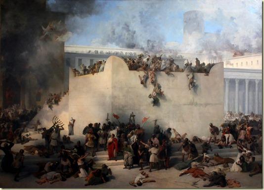 Здесь показана Картина итальянского художника Франческо Айеца *Разрушение Храма в Иерусалиме римскими солдатами*... По ссылке Напоминание, что захватившая Иерусалим Римская империя превратила город в руины...