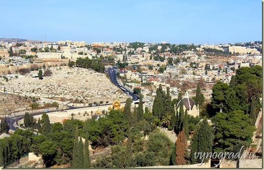 На этой фотографии наполненный зеленью сегодняшний град Иерусалим...